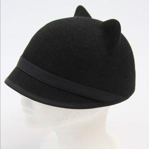 BCBG MAX AZARIA cat ears hat, black wool, one size